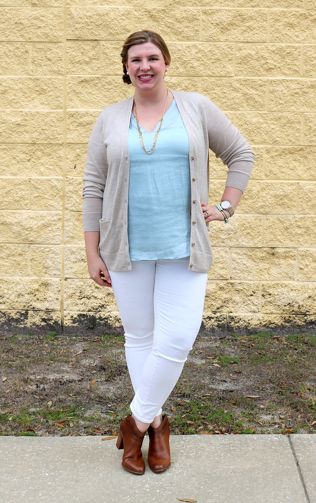 white jeans, tan cardi, aqua shell, cognac booties 2
