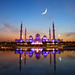 Moon crescent over Sheikh Zayed Mosque