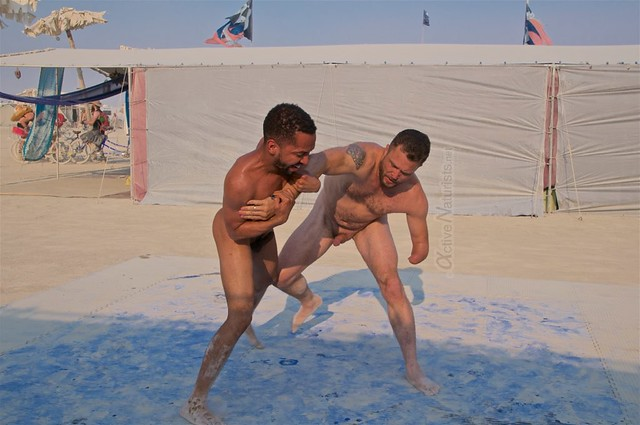 naturist wrestling camp Gymnasium 0006 Burning Man, Black Rock City, NV, USA