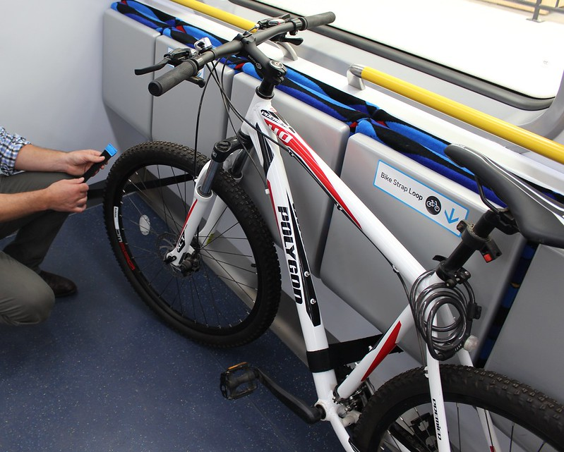 New metro trains: bike straps