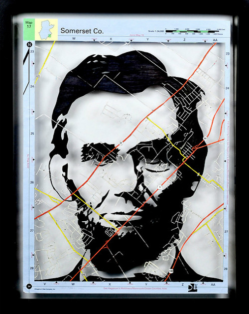 Papercut Map Portrait of Abraham Lincoln