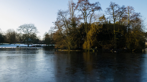 Boating lake - ice, snow