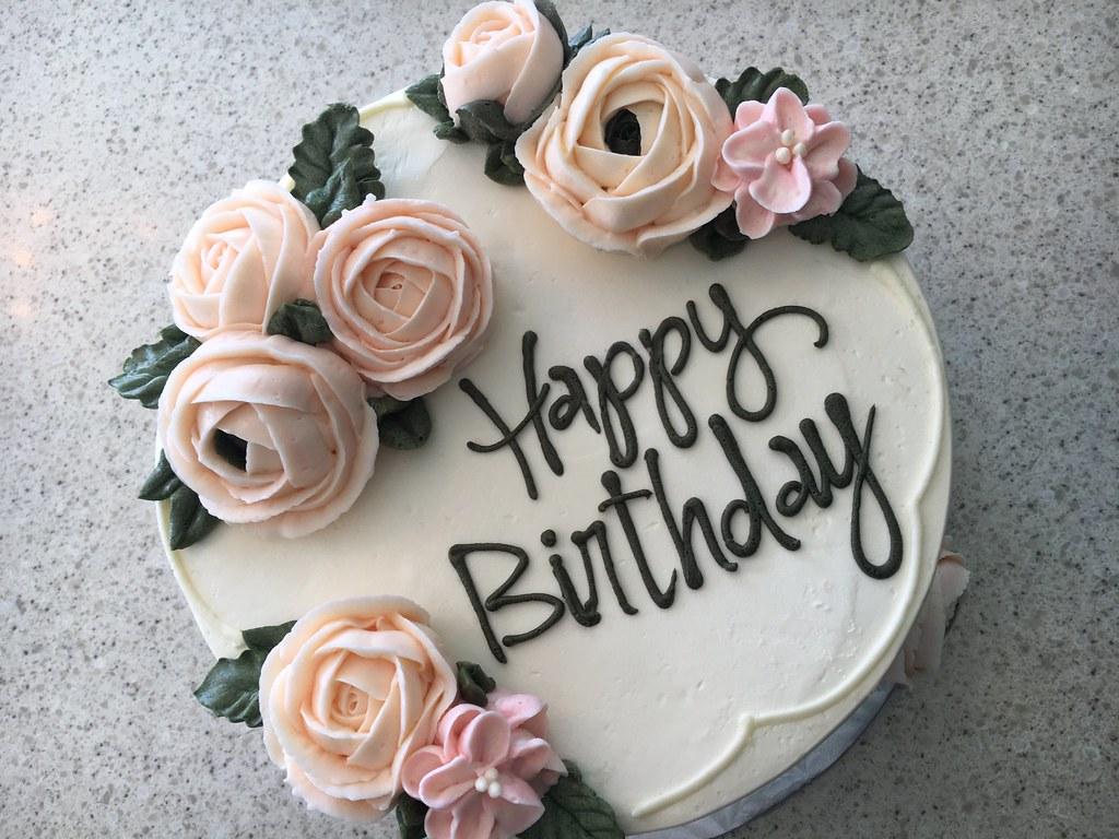 Elegant Buttercream Roses Birthday Cake