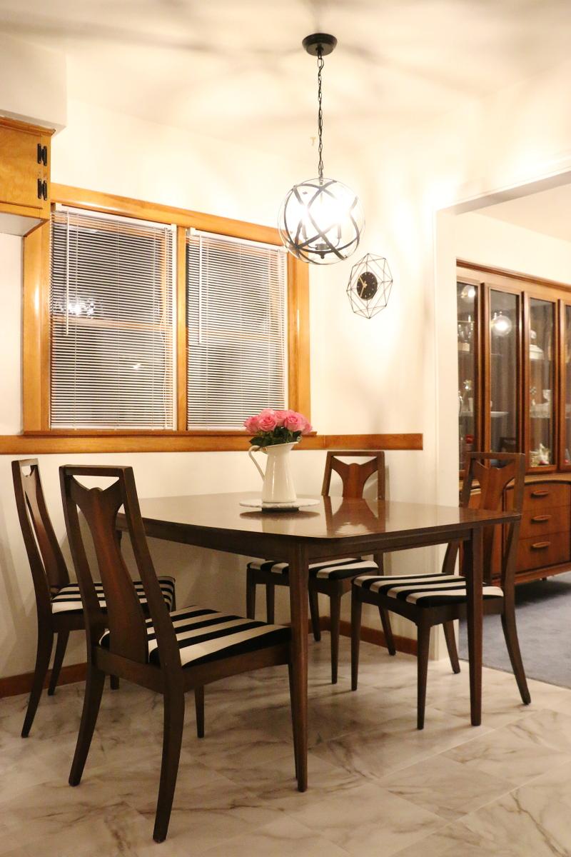 kitchen-nook-dining-set-black-white-stripe-chairs-5