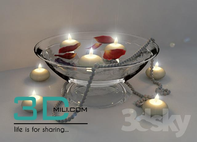 150  Candle with Flower 3D model - 3D Mili - Download 3D