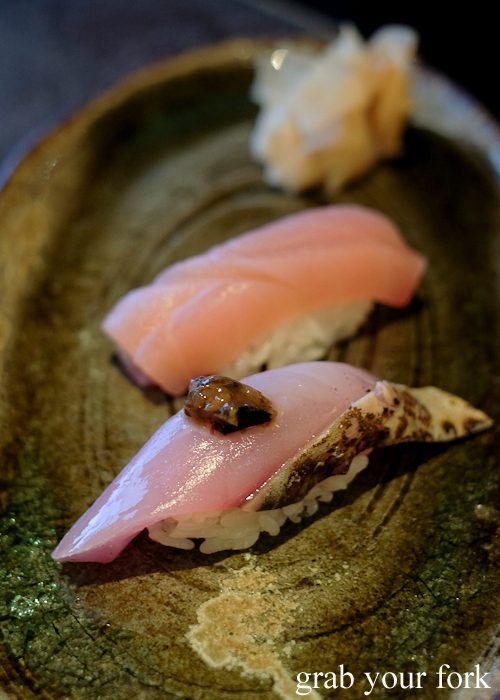 Bonito nigiri sushi and marlin nigiri sushi, part of our omakase by Chef Ryuichi Yoshii at Fujisaki by Lotus at Barangaroo in Sydney