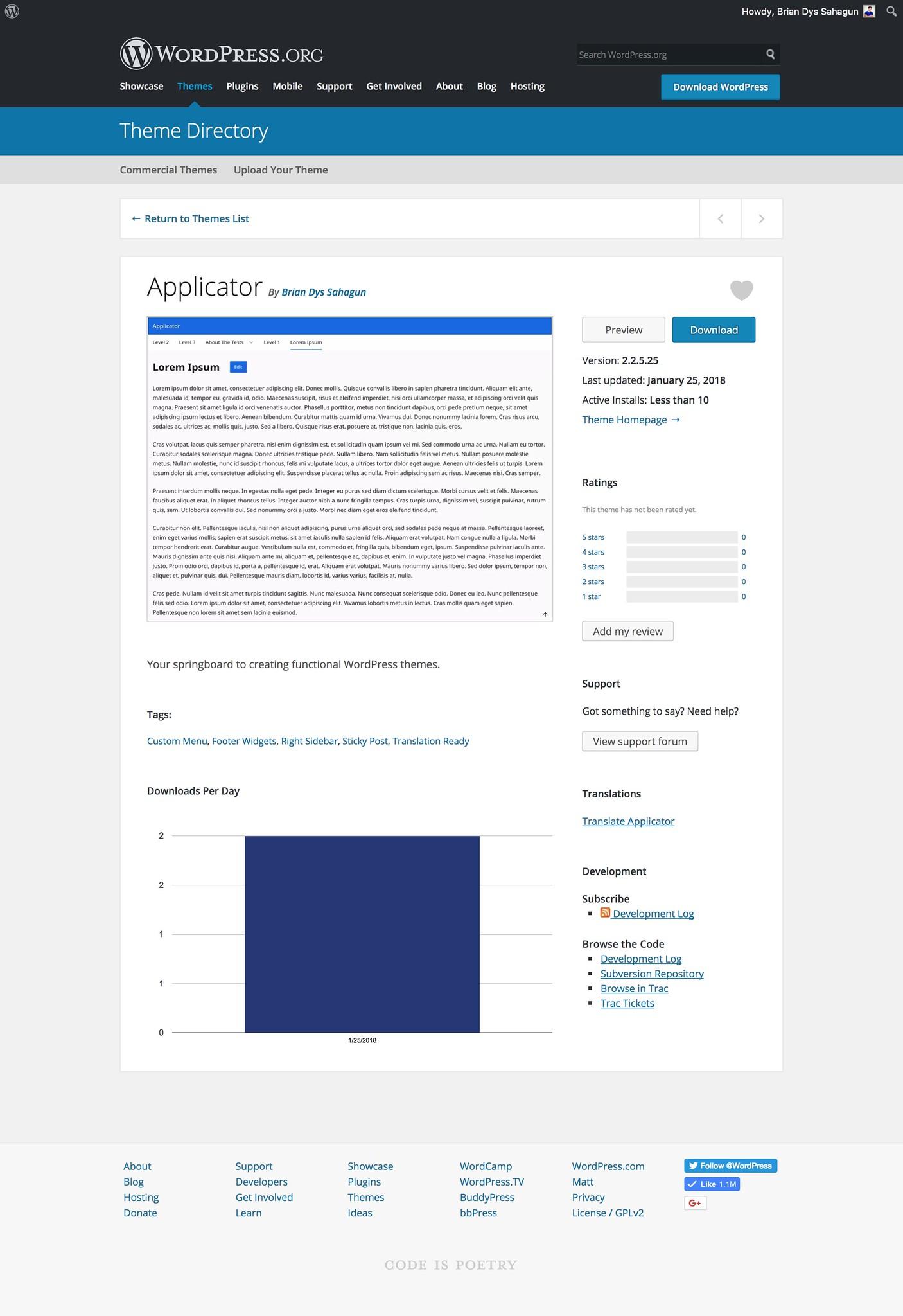 Applicator on WordPress