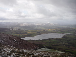 Lake Llangorse and Central Beacons from Mynydd Llangorse