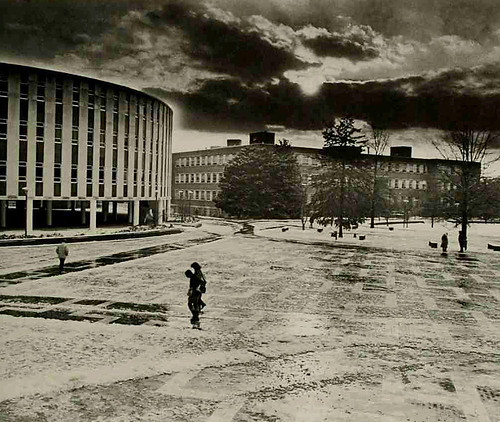 Sleet covers the Brickyard on a frozen day in the late '70s.