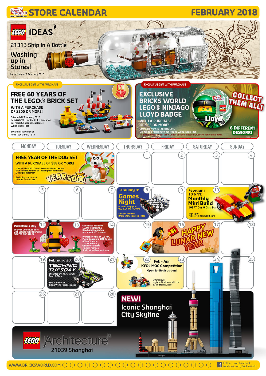 Bricksworld LEGO Certified Store February 2018 Store Calendar