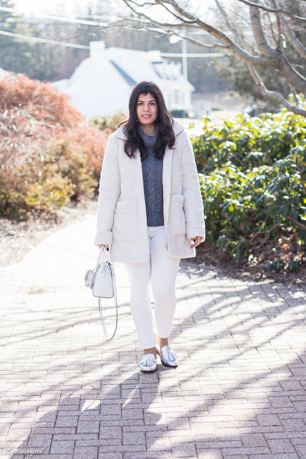 cream teddy coat, silver loafer mules, white denim, grey sweater-13.jpg