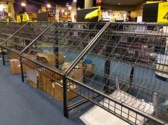 Empty merchandise racks, as seen on January 7, 2018