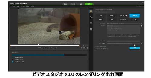 Corel VideoStudio X10 レンダリング出力設定の画面