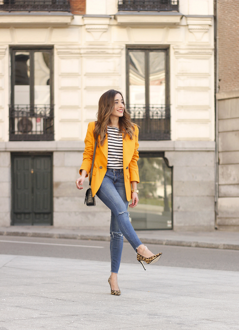 yellow blazer strippes ripped jeans givenchy bag leopard heels spring outfit 201801