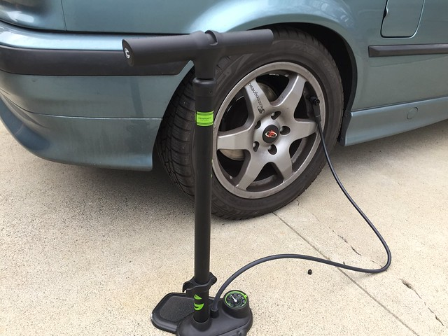 Pumping car's tires (with a bike pump)