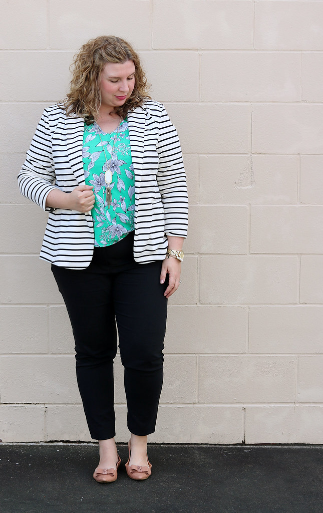 black and white stripe blazer, green floral shell, black pencil pants, bow flats 7