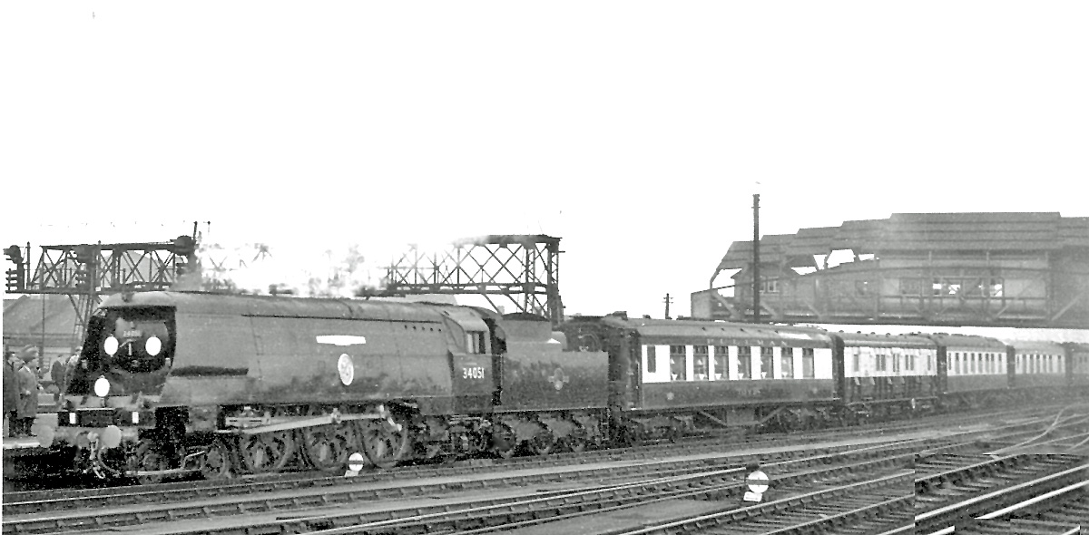 Sir Winston Churchill's funeral train passing Clapham Junction