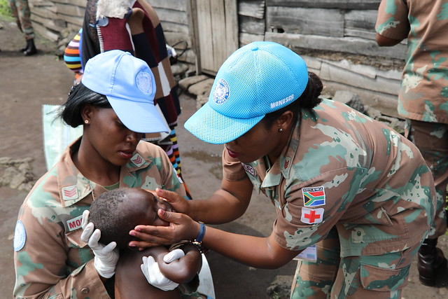 Munigi, North Kivu, DR Congo. A team of MONUSCO female peacekeepers partners with a local women organization to provide hygiene, medical and nutritional care to orphaned, vulnerable and abandoned children.