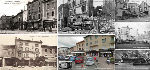 "11. Pz.Div Panther ""225"", Rue de Lyon, Méximieux, France, Knocked out 1 September 1944 - Then and Now - Montage 2"