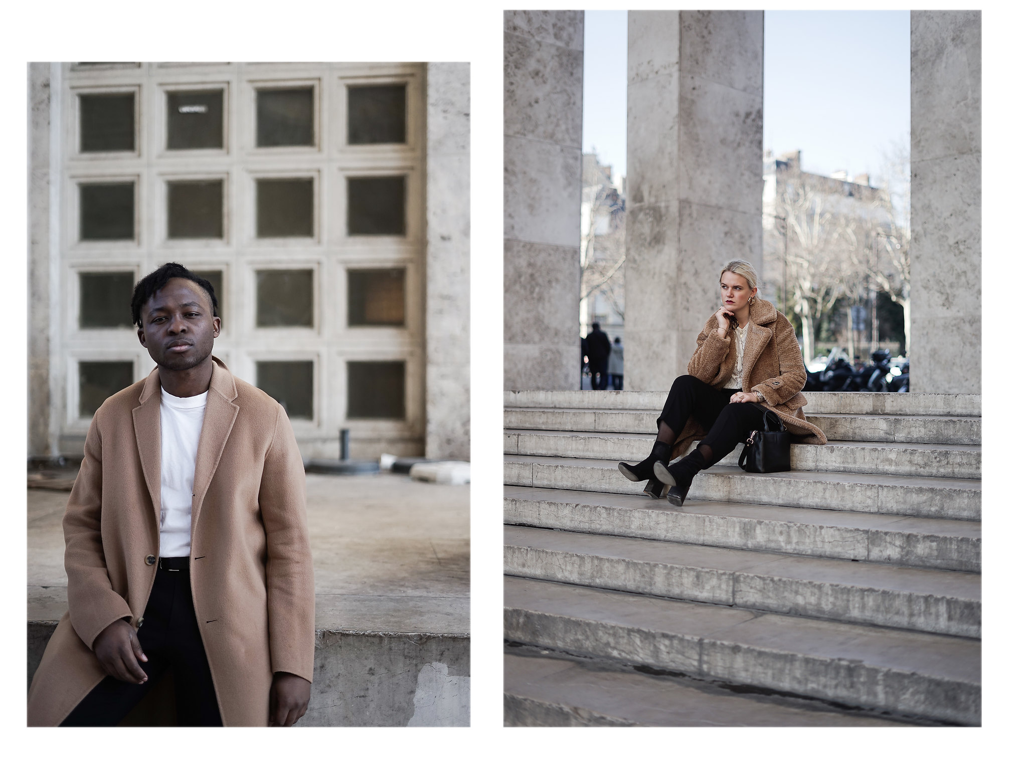 palais de tokyo paris mode couple fashion camel coat claudie pierlot acne studios balenciaga