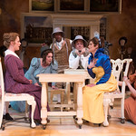 Sense and Sensibility at the Arvada Center - L-R: Zachary Andrews, Jessica Robblee, Emma Messenger, Abner Genece, Geoffrey Kent, Jessica Austgen, and Emelie O'Hara. Matt Gale Photography 2018