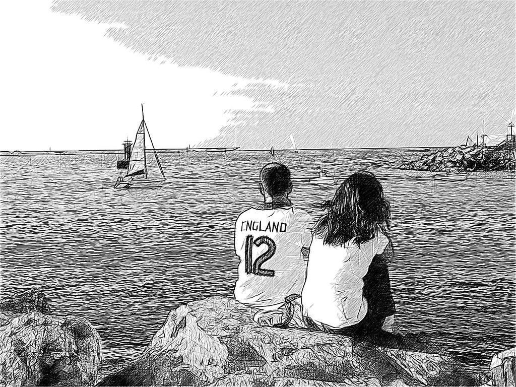 dos, una tarde de verano, frente al mar