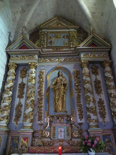 Retable baroque (XVIIIe), église romane, St Blaise (XIIe-XIIIe), Lacommande, Béarn, Pyrénées-Atlantiques, Nouvelle-Aquitaine, France.