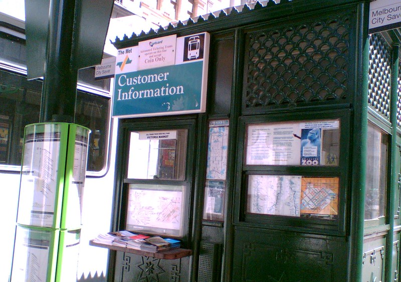 Elizabeth Street tram terminus information booth, January 2008