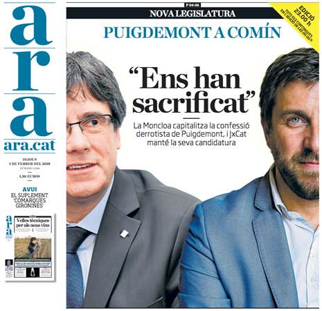 18a31 ara Portada Confesión Puigdemont 1 Uti 465