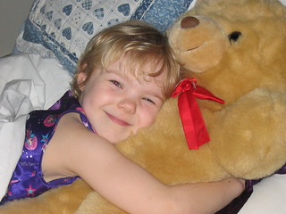 bear and happy girl
