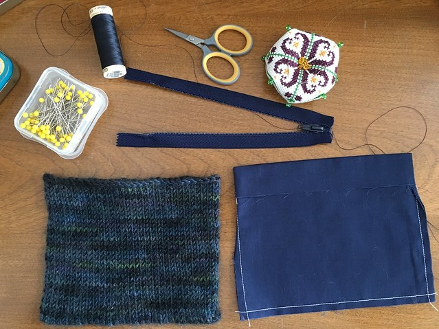 Lining a knit pouch