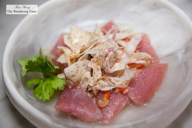 Tuna sashimi, Cobram Estate Olive Oil, Roe, Lemon