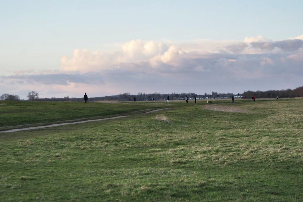 La prairie de Port Meadow à Oxford une fin d'après midi en hiver.