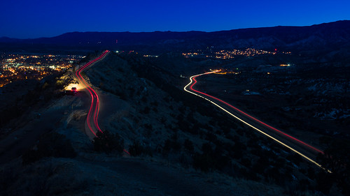 skylinedrive cañoncity colorado co canyoncity canoncity lighttrails road taillights headlights bluehour nikond600 tamronsp2040mmf2735