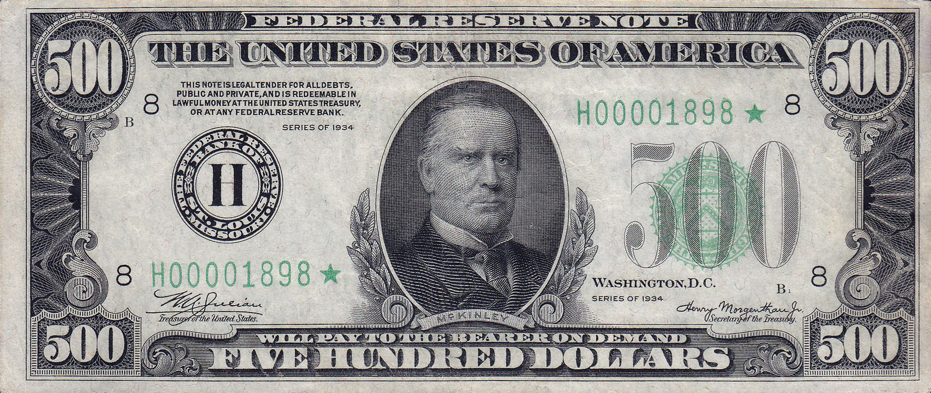 William McKinley was pictured on the 500 United States dollars bill, Series 1928 & 1934