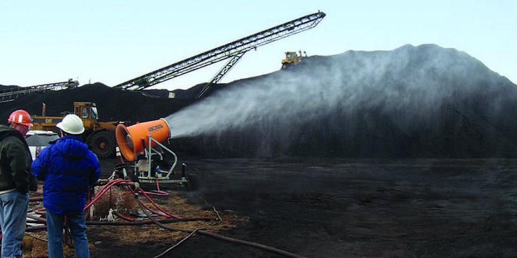 Процесс увлажнения угольной пыли