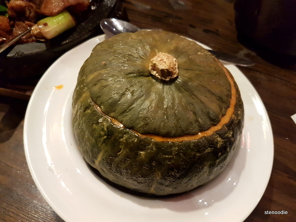 Steamed Pumpkin Stuffed with Sticky Rice and Mixed with Honey