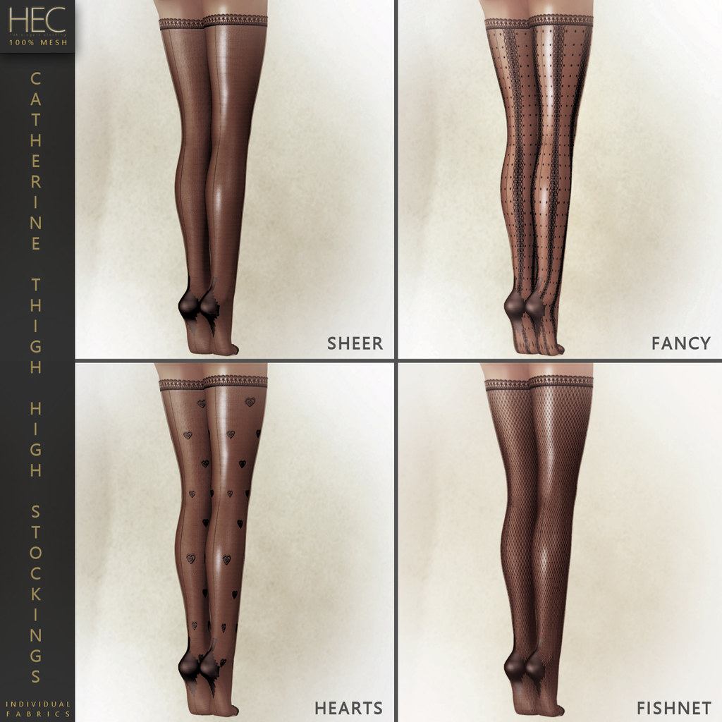 "HEC (FATPACK INDIVIDUALS) • ""CATHERINE"" TINTABLE MESH THIGH-HIGH STOCKINGS OS-00 - TeleportHub.com Live!"
