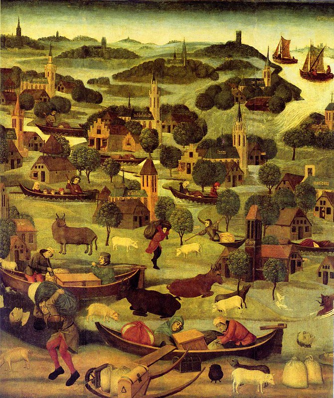 Outer right wing of an altarpiece with the St Elizabeth's Day flood, by a dutch painter
