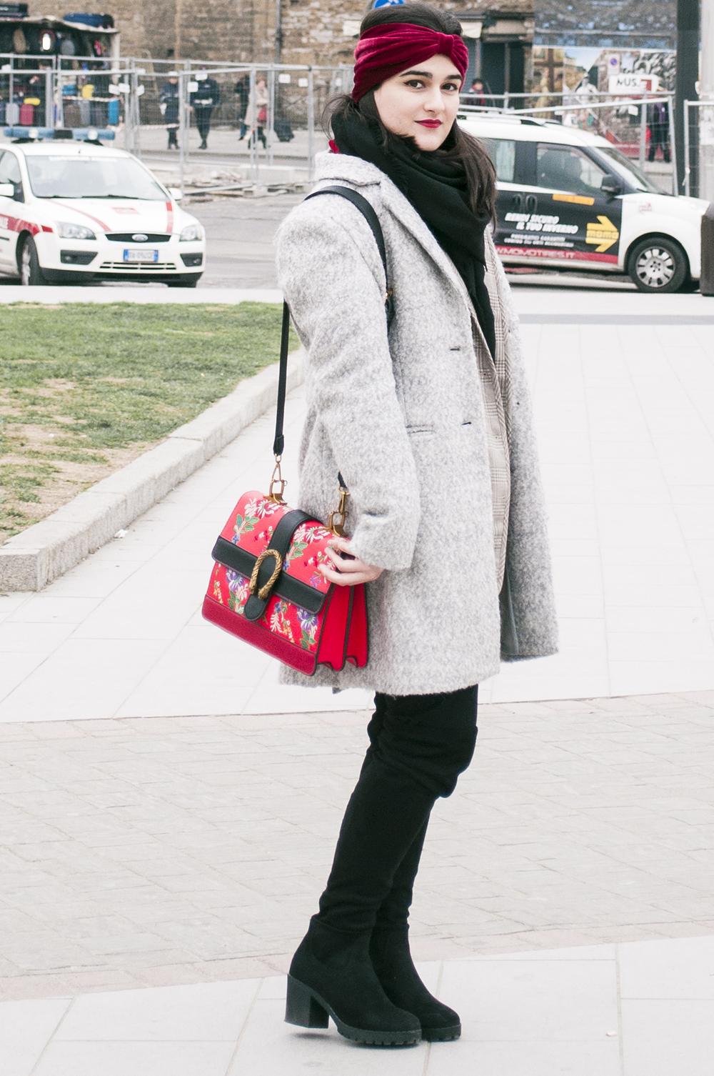 somethingfashion blogger firenze collaboration outfit casual turban diadem velvet red coat vintage italianbloggers_0687
