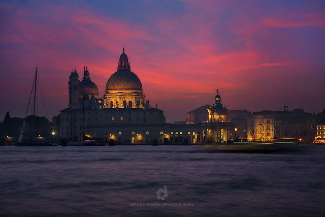 Basilica of St Mary of Health (Santa Maria della Salute) at Night, Venice