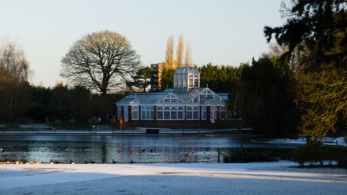 Conservatory and lake, West Park, snowy morning