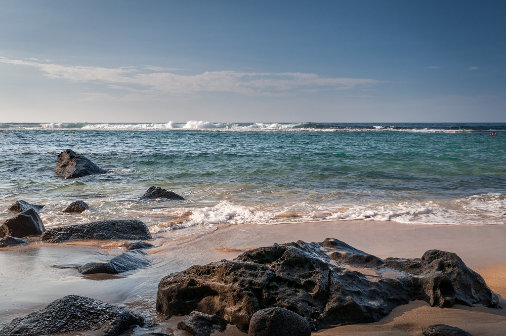 Rocks along the shore, Ke'e Beach, Hapuna State Park