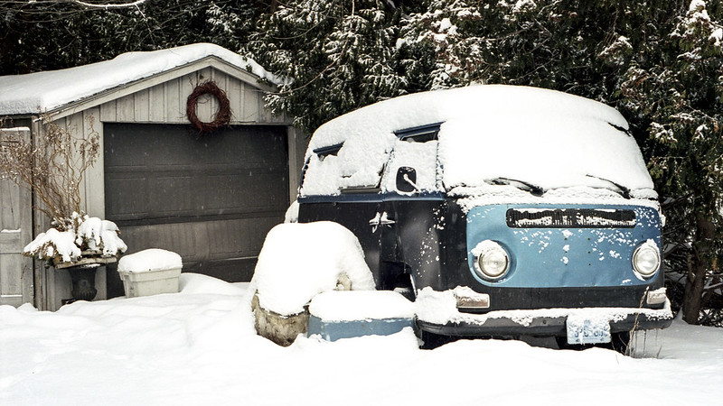 Snowed in VW Van