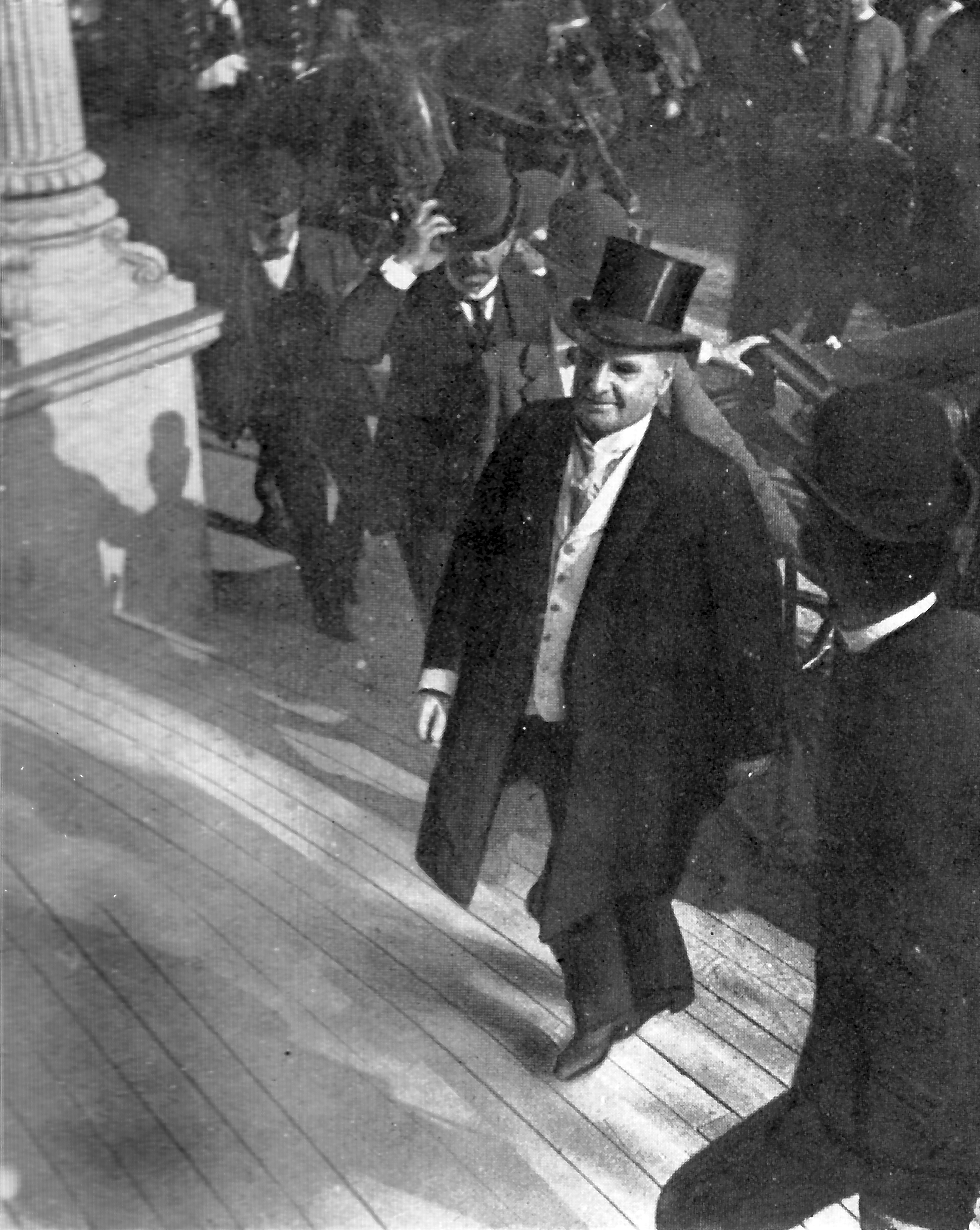 One of the last photographs of the late President McKinley. Taken as he was ascending the steps of the Temple of Music, September 6, 1901.