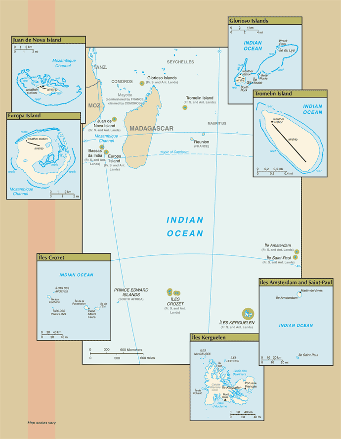 Map of French Southern and Antarctic Lands