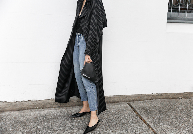 minimal street style fashion blogger striped trench coat vintage denim Balenciaga knife mules triangle clutch Instagram (5 of 11)