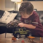 Archer's so happy to have his very own #overland jeep set. by bartlewife