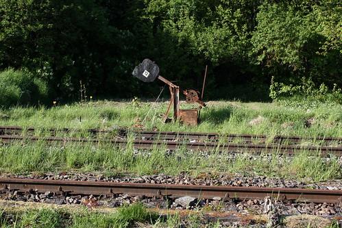 Zuwachsende Gleise und stillgelegtes Weichenspannwerk in Dingelstädt