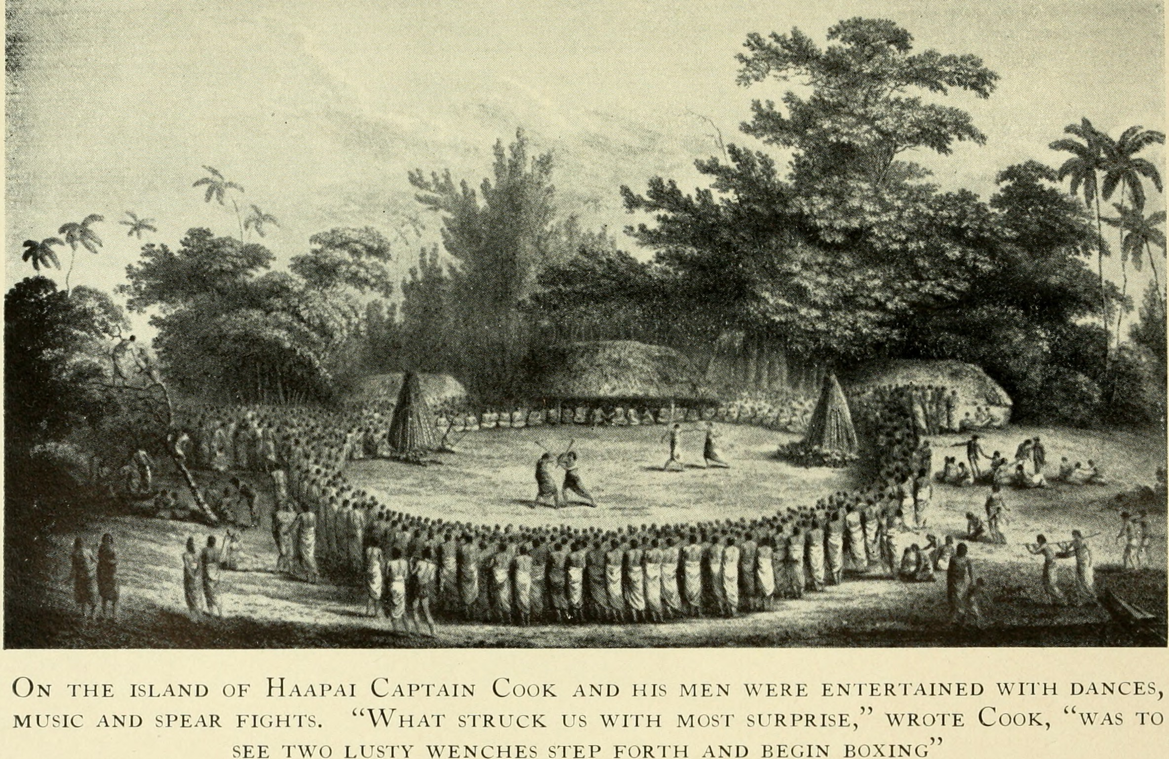 Captain James Cook welcomed on the island of Haapai, 1777 (1930 engraving)
